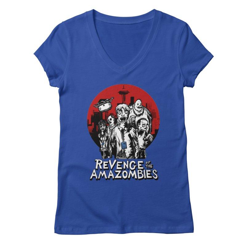 Revenge of the Amazombies Women's V-Neck by Kodi Sershon