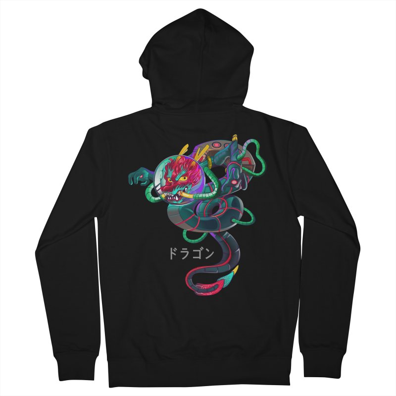 Dragon in space Women's French Terry Zip-Up Hoody by koi's Artist Shop