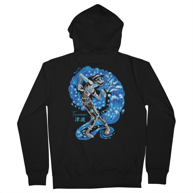 Wave Tsunami Men's French Terry Zip-Up Hoody by koi's Artist Shop