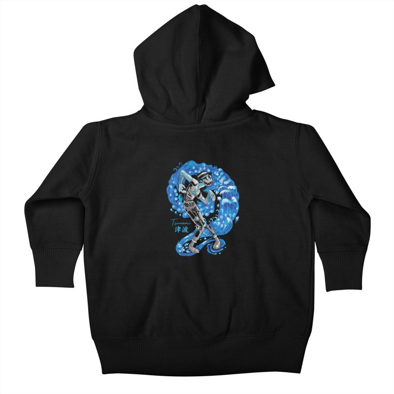 Wave Tsunami Kids Baby Zip-Up Hoody by koi's Artist Shop