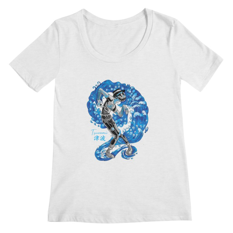 Wave Tsunami Women's Regular Scoop Neck by koi's Artist Shop