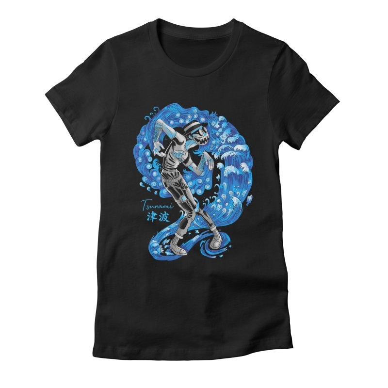 Wave Tsunami Women's Fitted T-Shirt by koi's Artist Shop