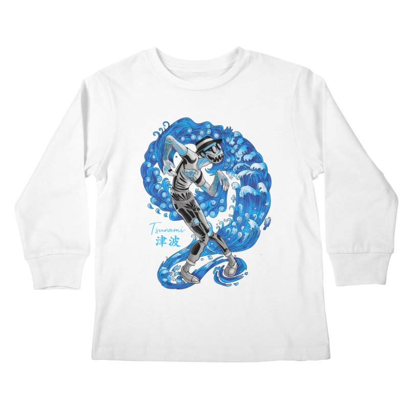 Wave Tsunami Kids Longsleeve T-Shirt by koi's Artist Shop