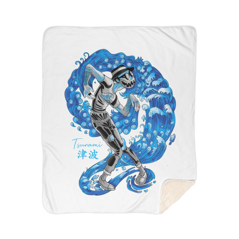 Wave Tsunami Home Sherpa Blanket Blanket by koi's Artist Shop