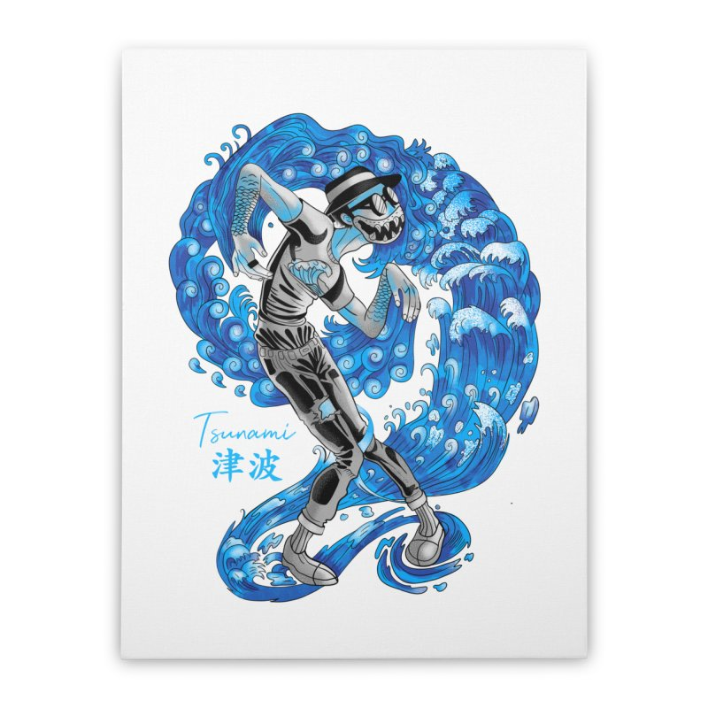 Wave Tsunami Home Stretched Canvas by koi's Artist Shop