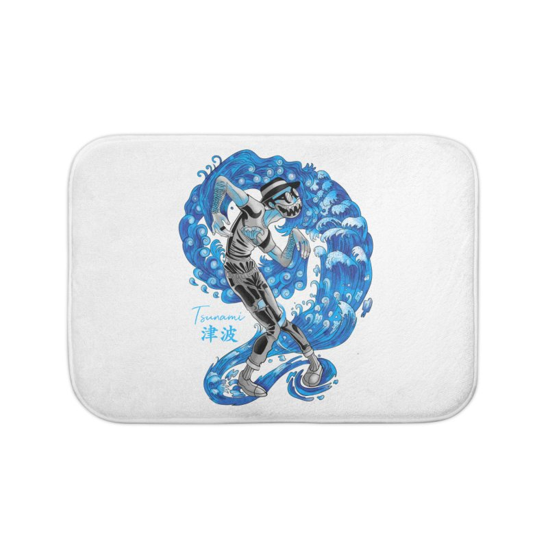 Wave Tsunami Home Bath Mat by koi's Artist Shop