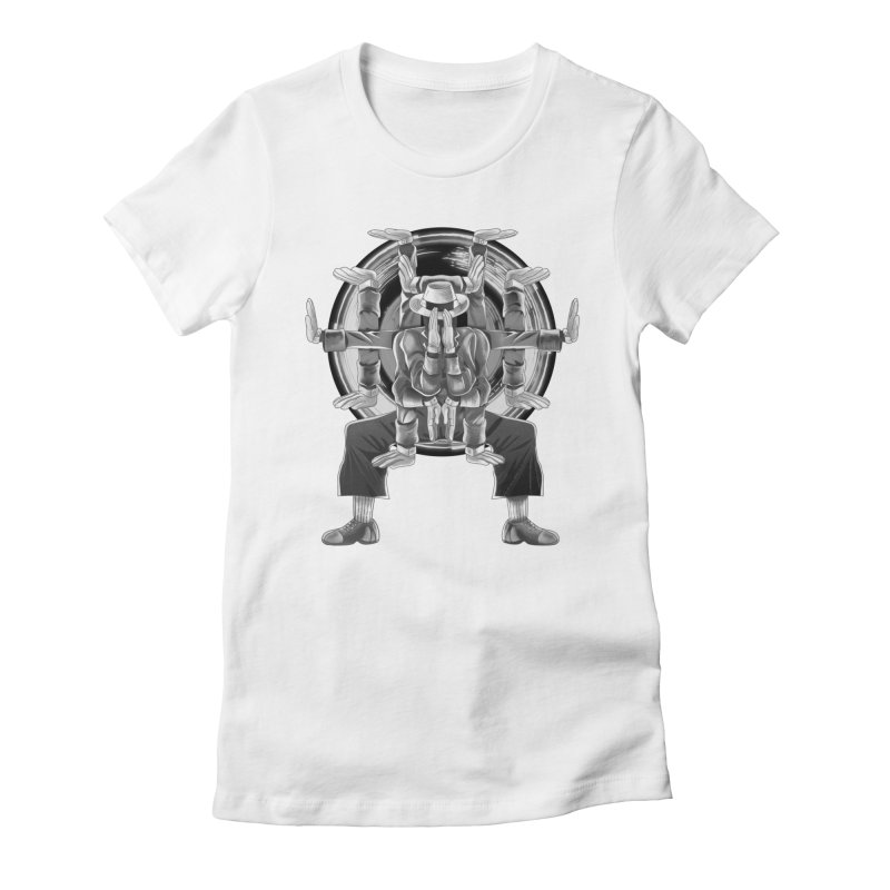 Tut Diagram black and white Women's Fitted T-Shirt by koi's Artist Shop