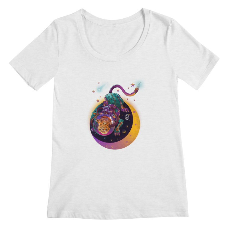Moon Tiger Women's Regular Scoop Neck by koi's Artist Shop