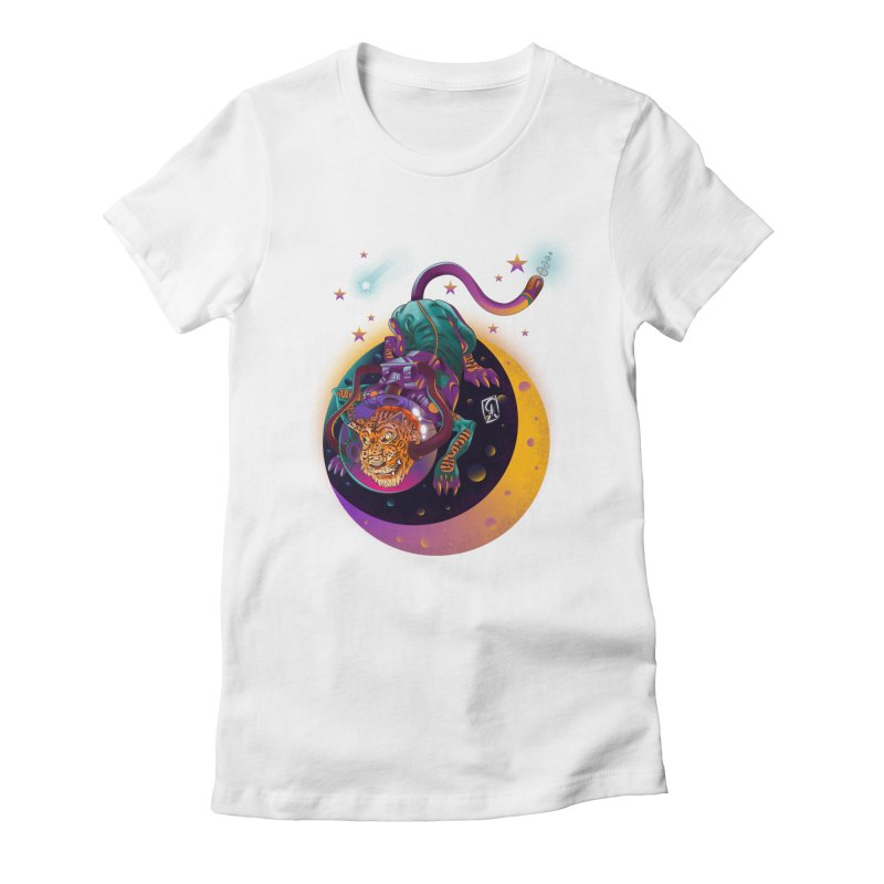 Moon Tiger Women's Fitted T-Shirt by koi's Artist Shop