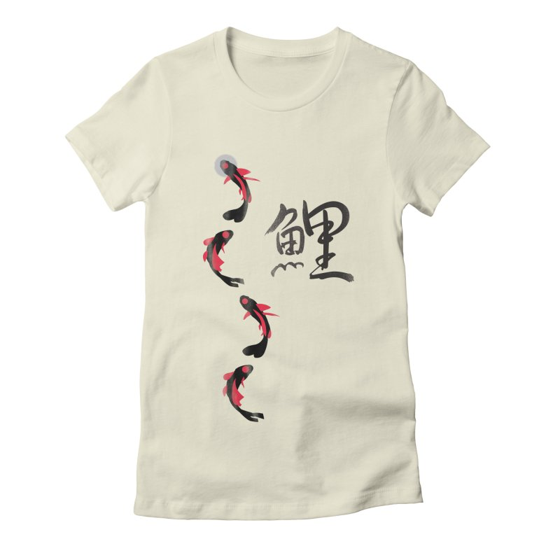 Koi Fish with Japanese Kanji Women's Fitted T-Shirt by koi's Artist Shop