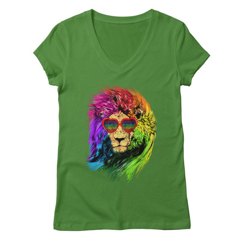 Pride Lion Women's Regular V-Neck by kooky love's Artist Shop
