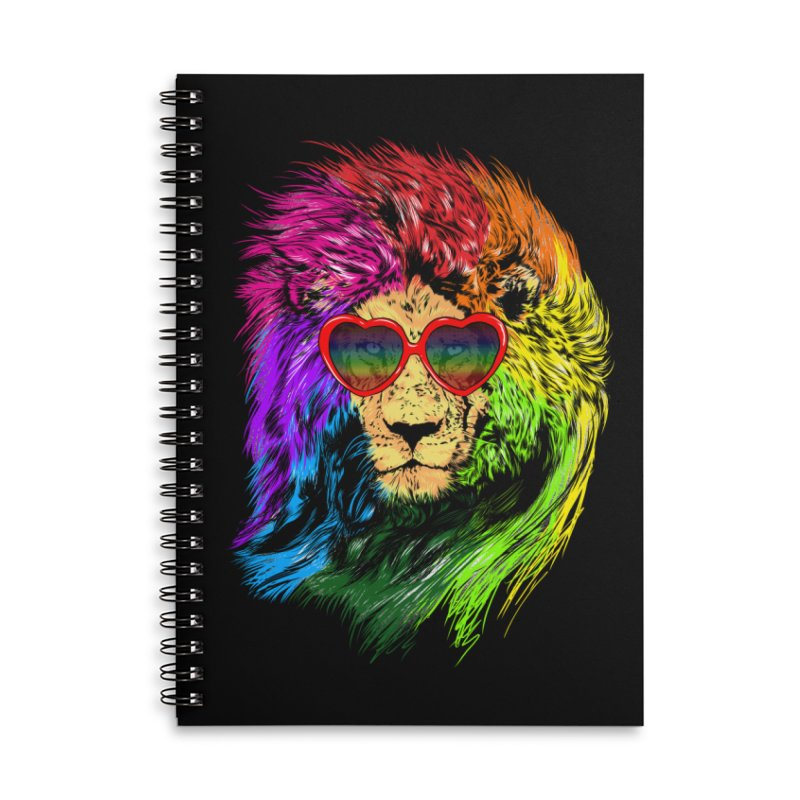 Pride Lion Accessories Lined Spiral Notebook by kooky love's Artist Shop