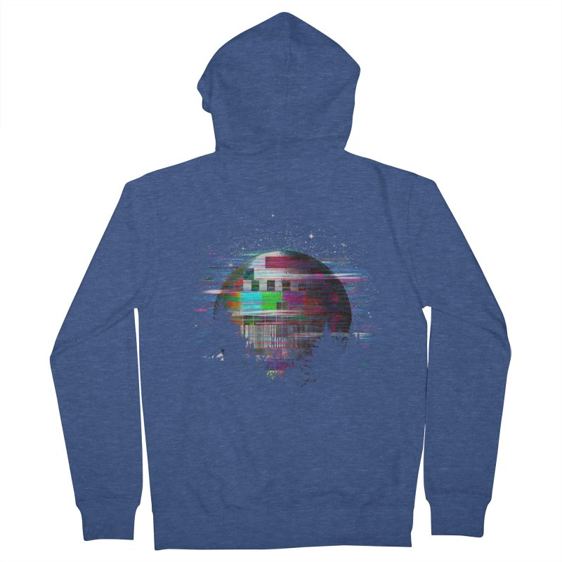 The moon glitches Men's French Terry Zip-Up Hoody by kooky love's Artist Shop