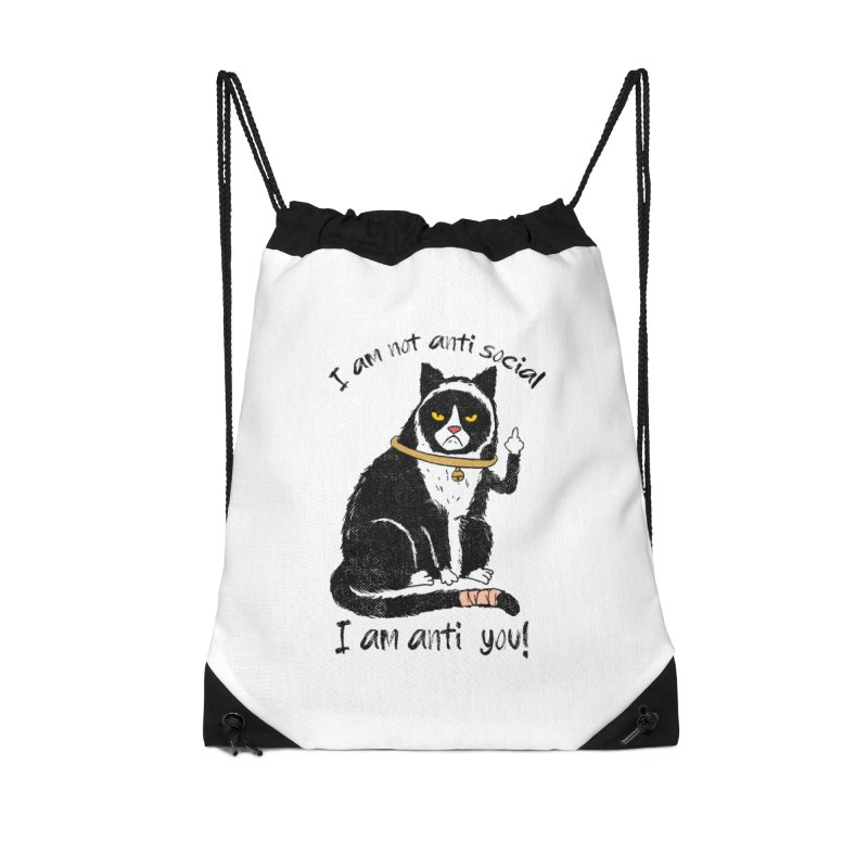Anti you Accessories Drawstring Bag Bag by kooky love's Artist Shop