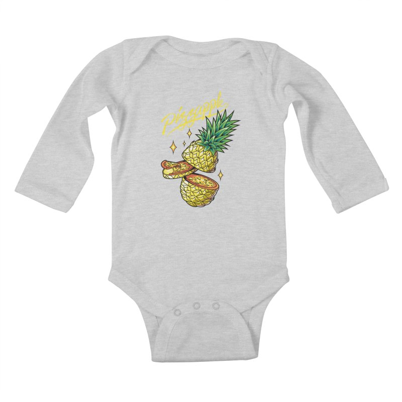 Pizzapple Kids Baby Longsleeve Bodysuit by kooky love's Artist Shop