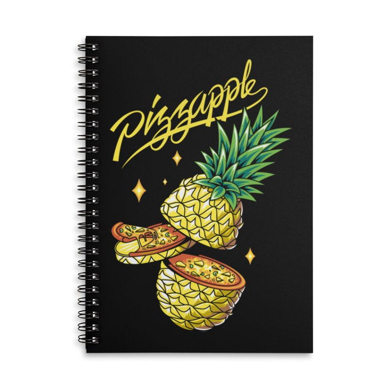 Pizzapple Accessories Lined Spiral Notebook by kooky love's Artist Shop