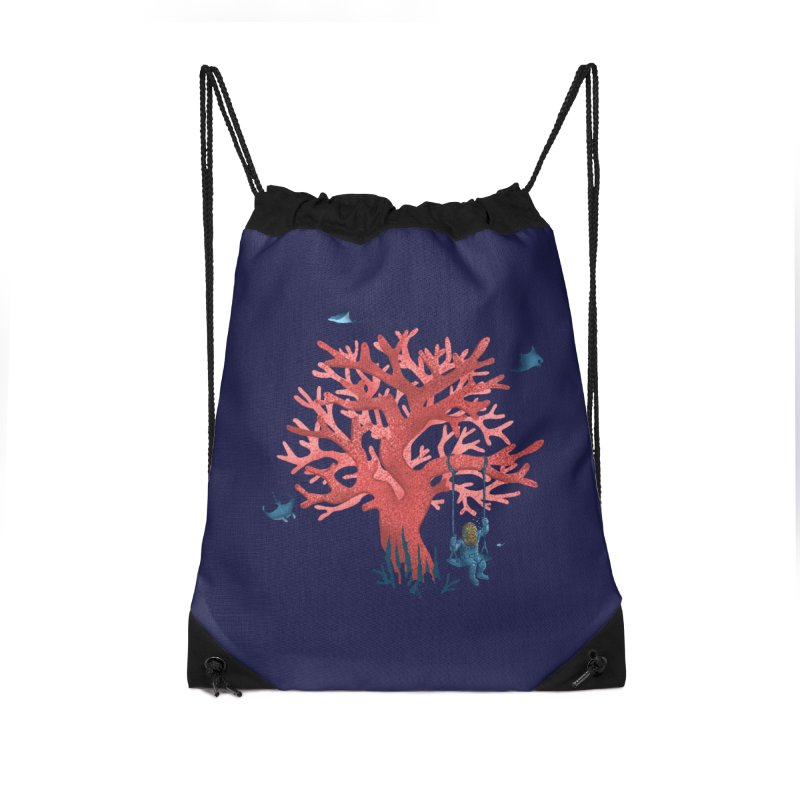 Coral Swing Accessories Drawstring Bag Bag by kooky love's Artist Shop
