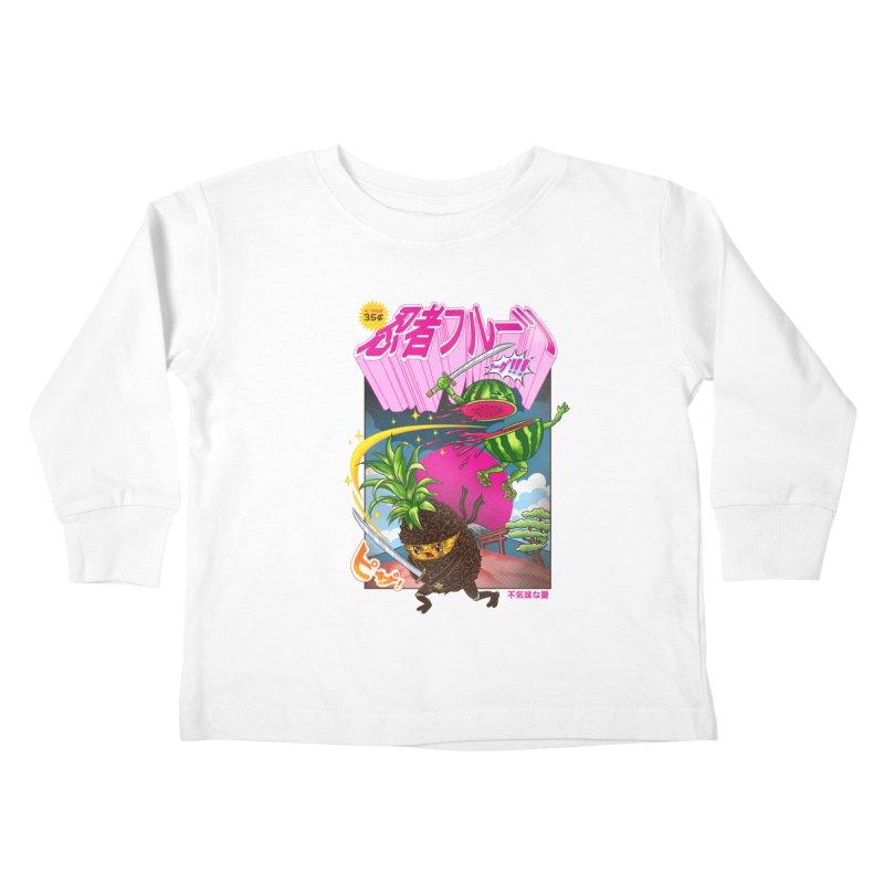 Ninja Fruit Kids Toddler Longsleeve T-Shirt by kooky love's Artist Shop