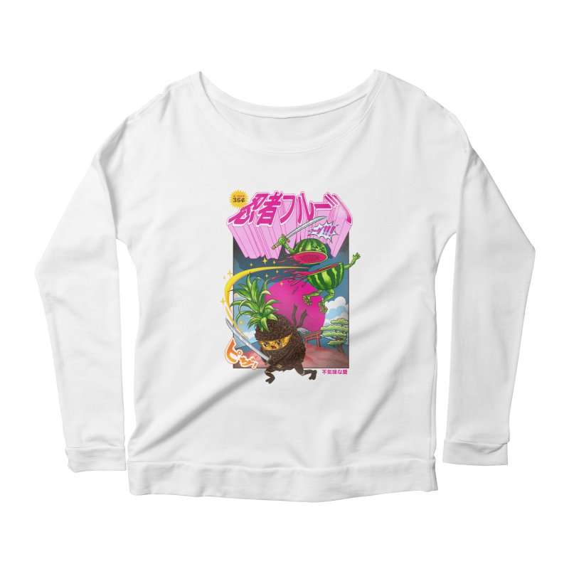 Ninja Fruit Women's Scoop Neck Longsleeve T-Shirt by kooky love's Artist Shop