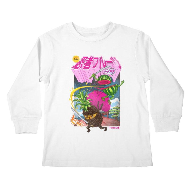 Ninja Fruit Kids Longsleeve T-Shirt by kooky love's Artist Shop