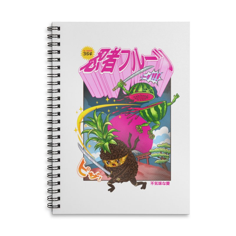 Ninja Fruit Accessories Lined Spiral Notebook by kooky love's Artist Shop