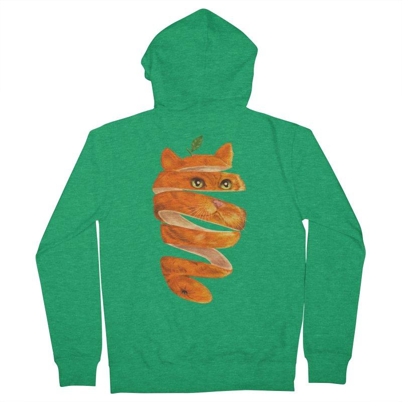 Orange Cat Men's French Terry Zip-Up Hoody by kooky love's Artist Shop