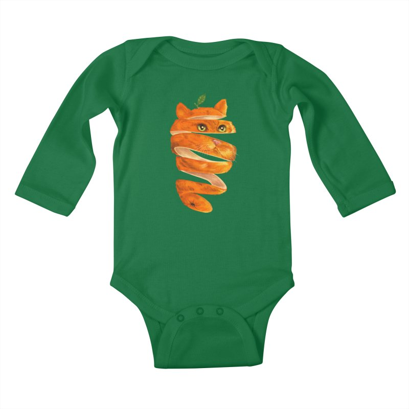 Orange Cat Kids Baby Longsleeve Bodysuit by kooky love's Artist Shop
