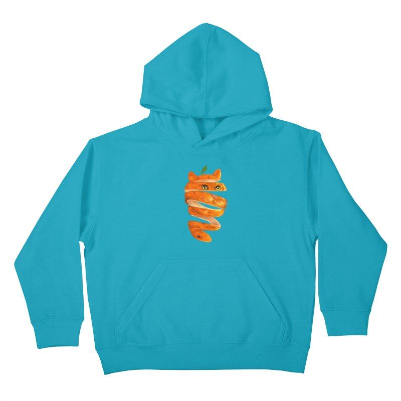 Orange Cat Kids Pullover Hoody by kooky love's Artist Shop