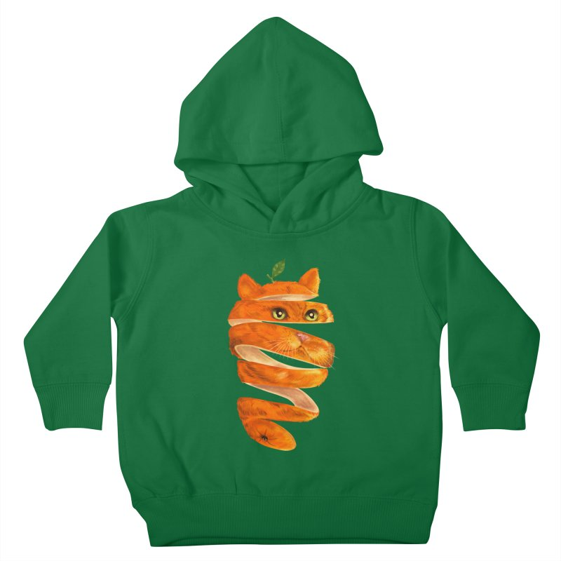 Orange Cat Kids Toddler Pullover Hoody by kooky love's Artist Shop