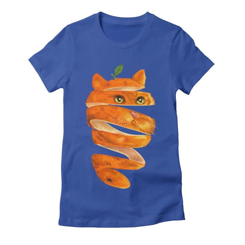 Orange Cat Women's Fitted T-Shirt by kooky love's Artist Shop