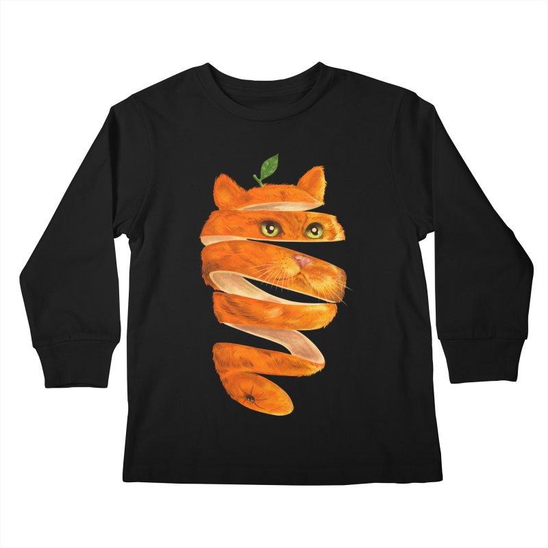 Orange Cat Kids Longsleeve T-Shirt by kooky love's Artist Shop