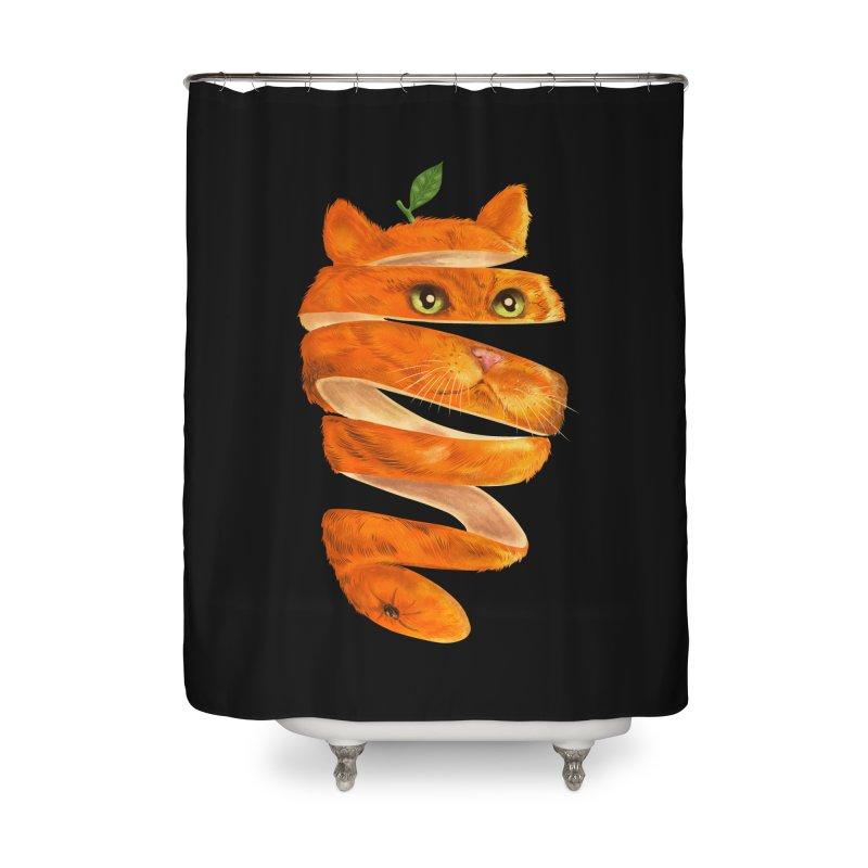 Orange Cat Home Shower Curtain by kooky love's Artist Shop