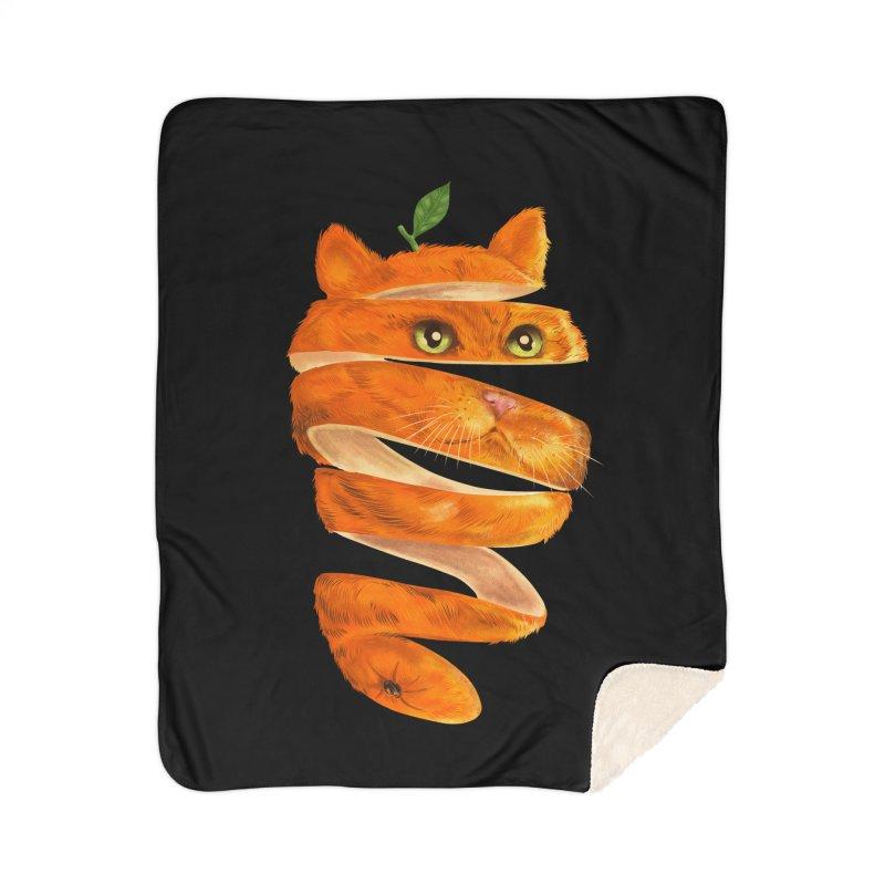 Orange Cat Home Sherpa Blanket Blanket by kooky love's Artist Shop