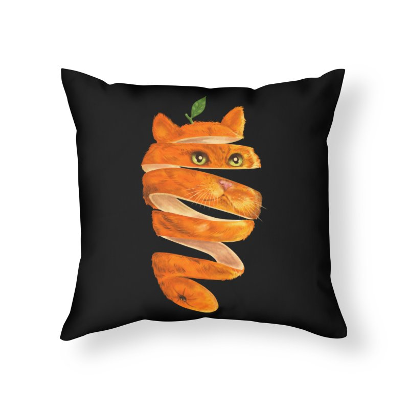 Orange Cat Home Throw Pillow by kooky love's Artist Shop