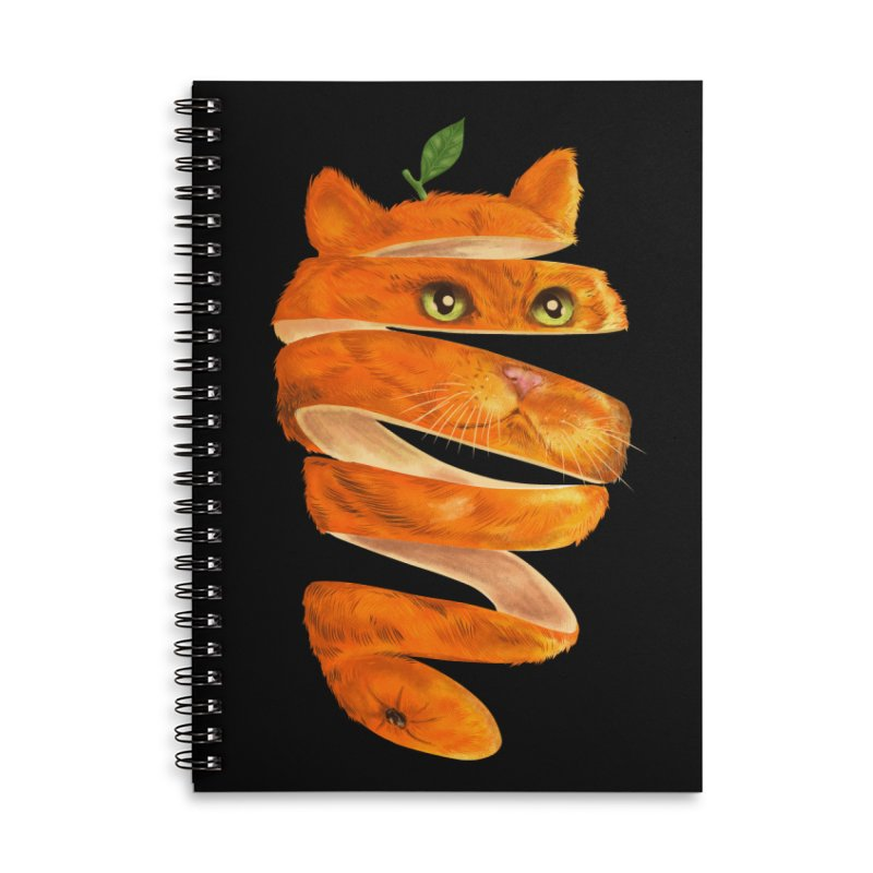 Orange Cat Accessories Lined Spiral Notebook by kooky love's Artist Shop