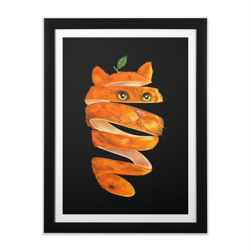 Orange Cat Home Framed Fine Art Print by kooky love's Artist Shop