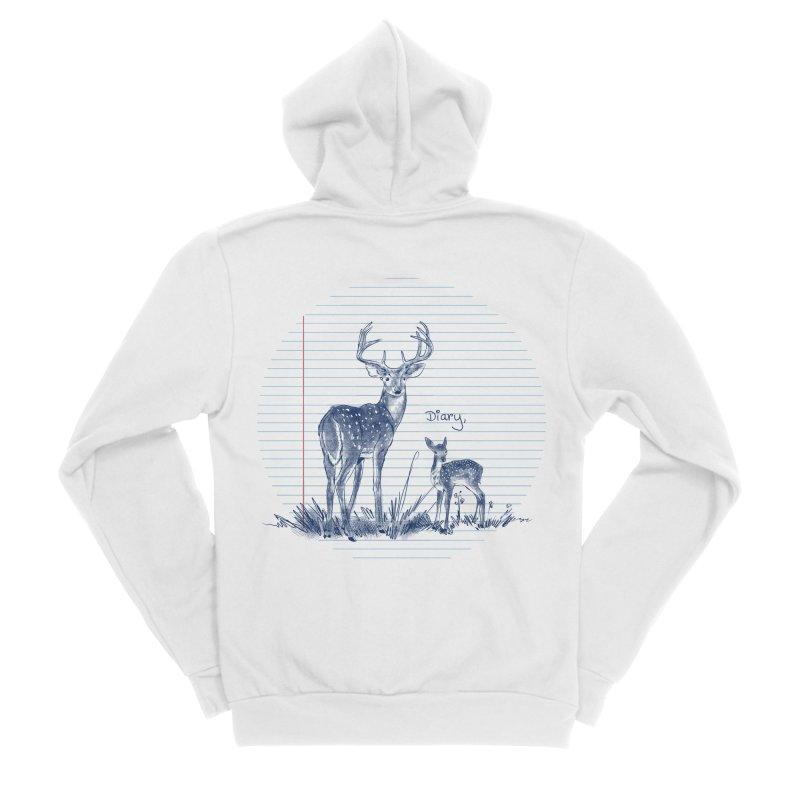 Deer Diary, Women's Sponge Fleece Zip-Up Hoody by kooky love's Artist Shop