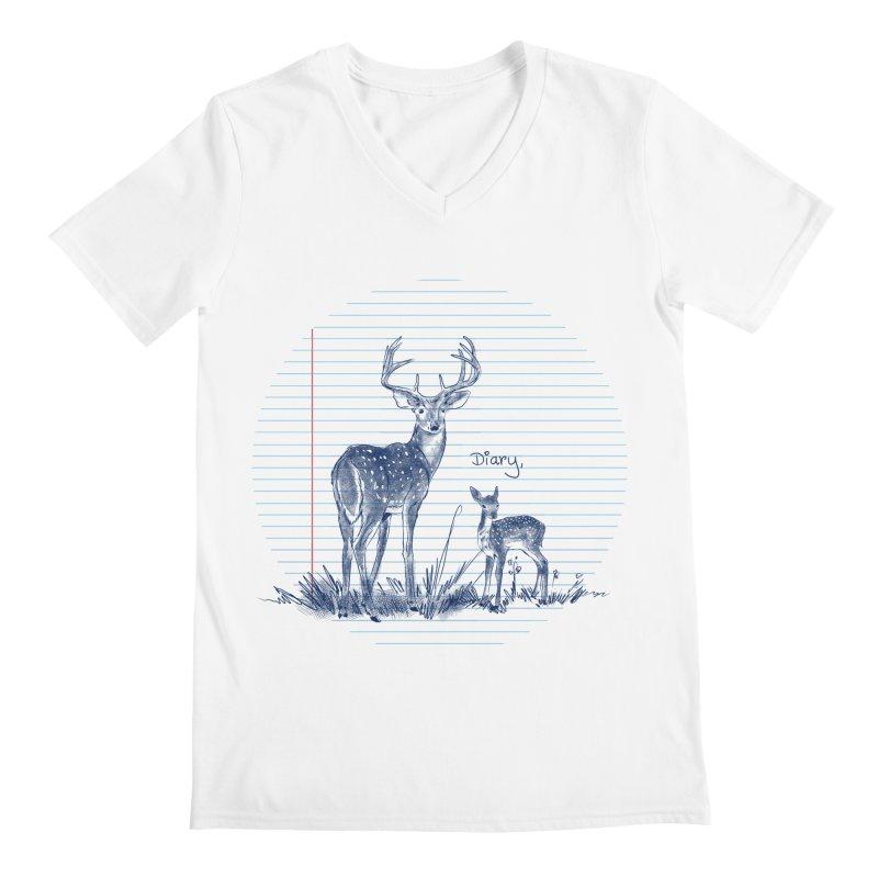 Deer Diary, Men's Regular V-Neck by kooky love's Artist Shop