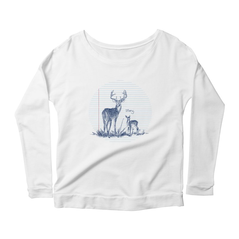 Deer Diary, Women's Scoop Neck Longsleeve T-Shirt by kooky love's Artist Shop