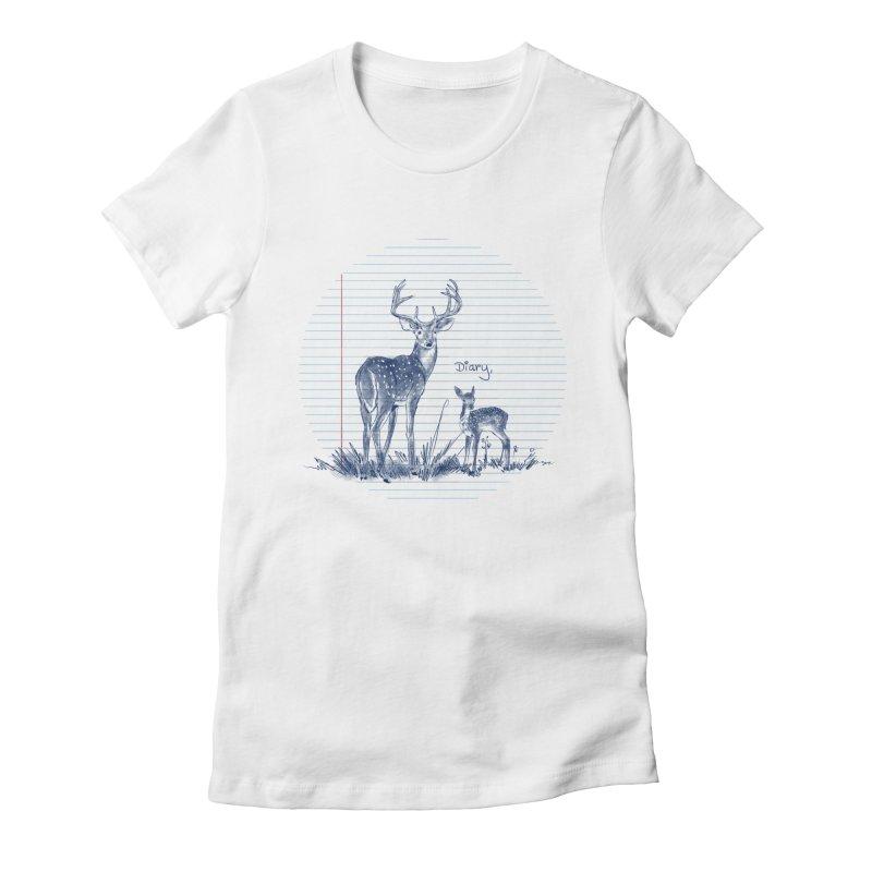 Deer Diary, Women's Fitted T-Shirt by kooky love's Artist Shop