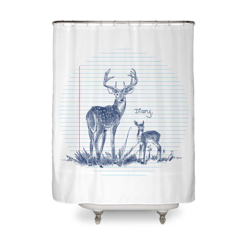 Deer Diary, Home Shower Curtain by kooky love's Artist Shop