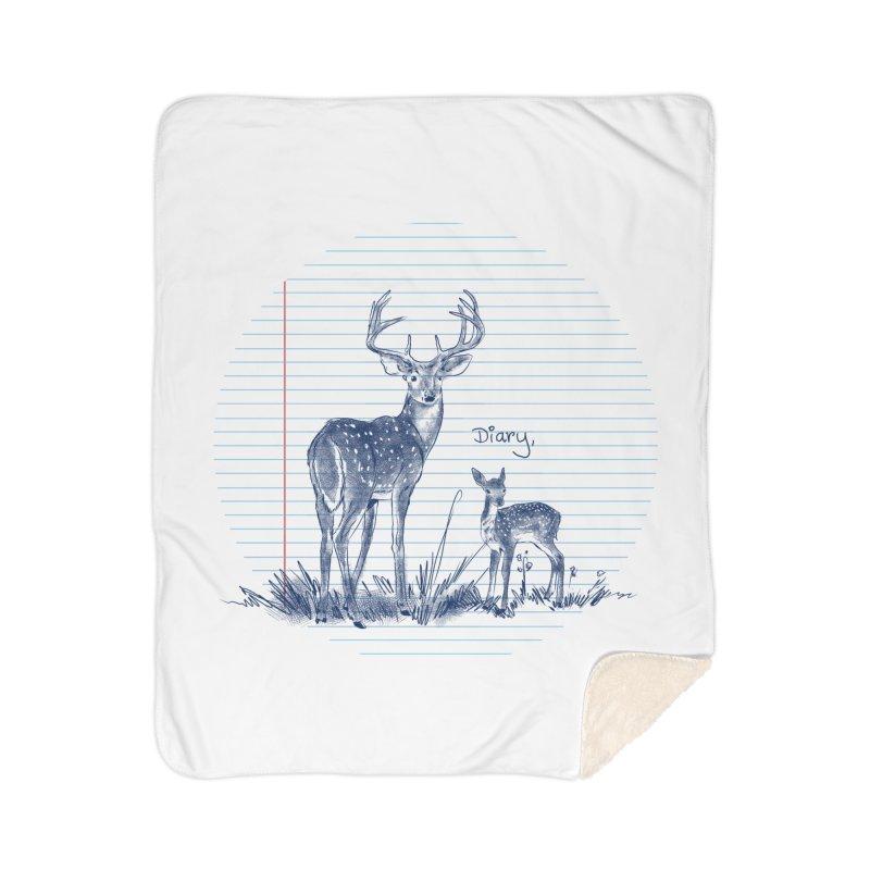 Deer Diary, Home Sherpa Blanket Blanket by kooky love's Artist Shop