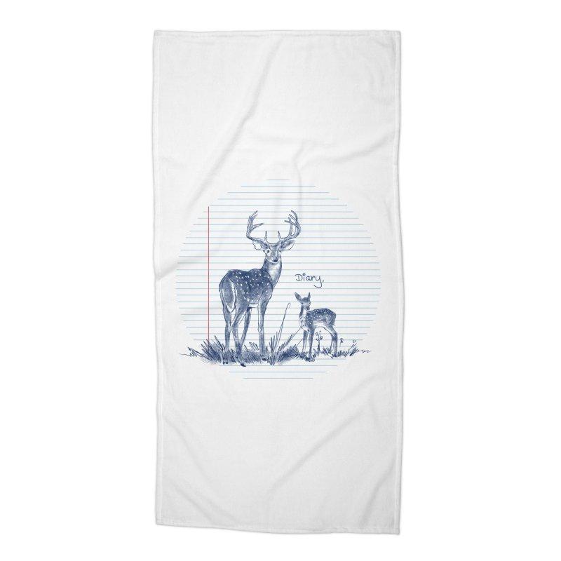 Deer Diary, Accessories Beach Towel by kooky love's Artist Shop