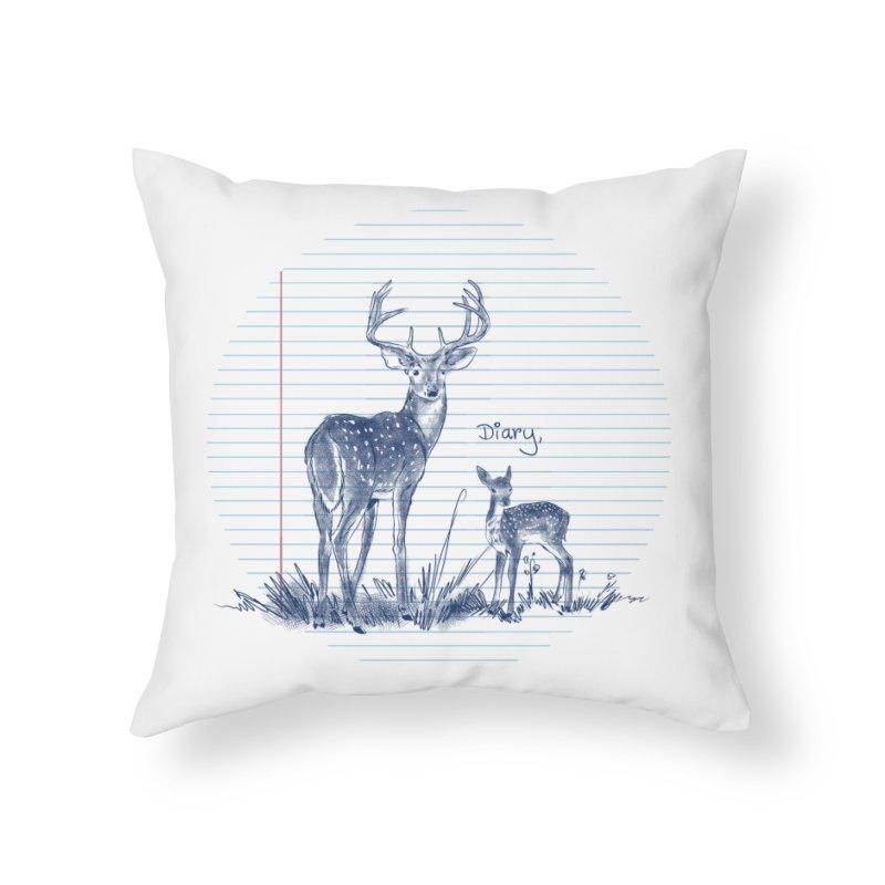 Deer Diary, Home Throw Pillow by kooky love's Artist Shop