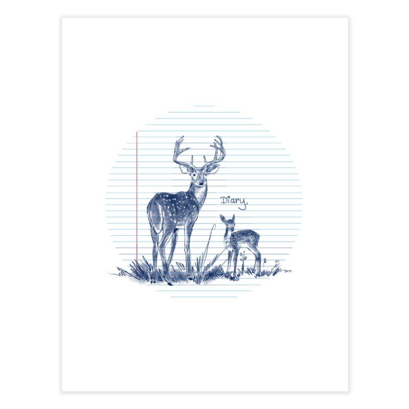 Deer Diary, Home Fine Art Print by kooky love's Artist Shop