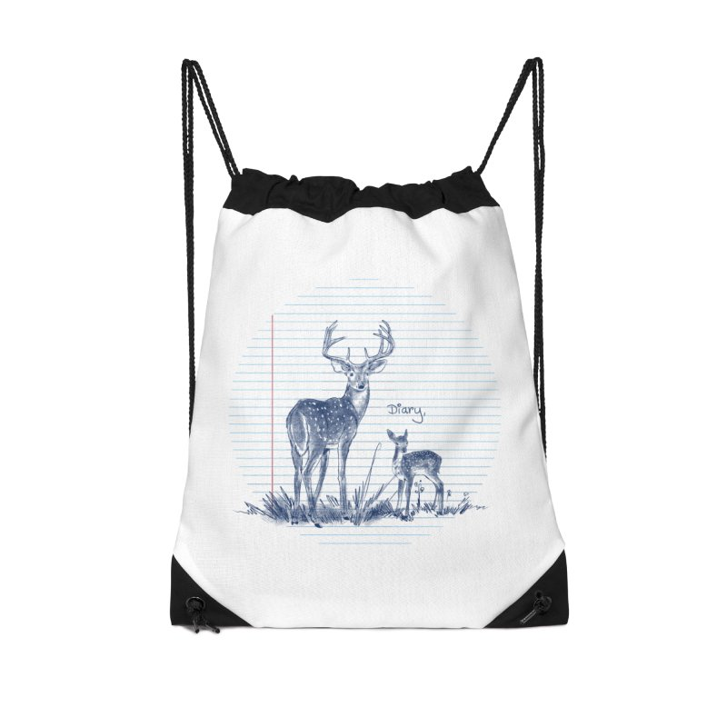 Deer Diary, Accessories Drawstring Bag Bag by kooky love's Artist Shop