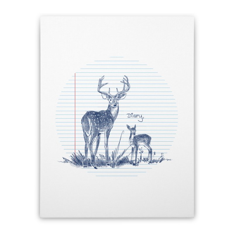 Deer Diary, Home Stretched Canvas by kooky love's Artist Shop