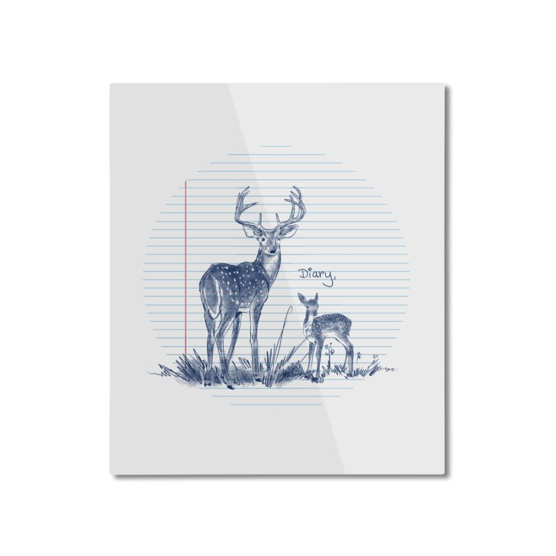 Deer Diary, Home Mounted Aluminum Print by kooky love's Artist Shop