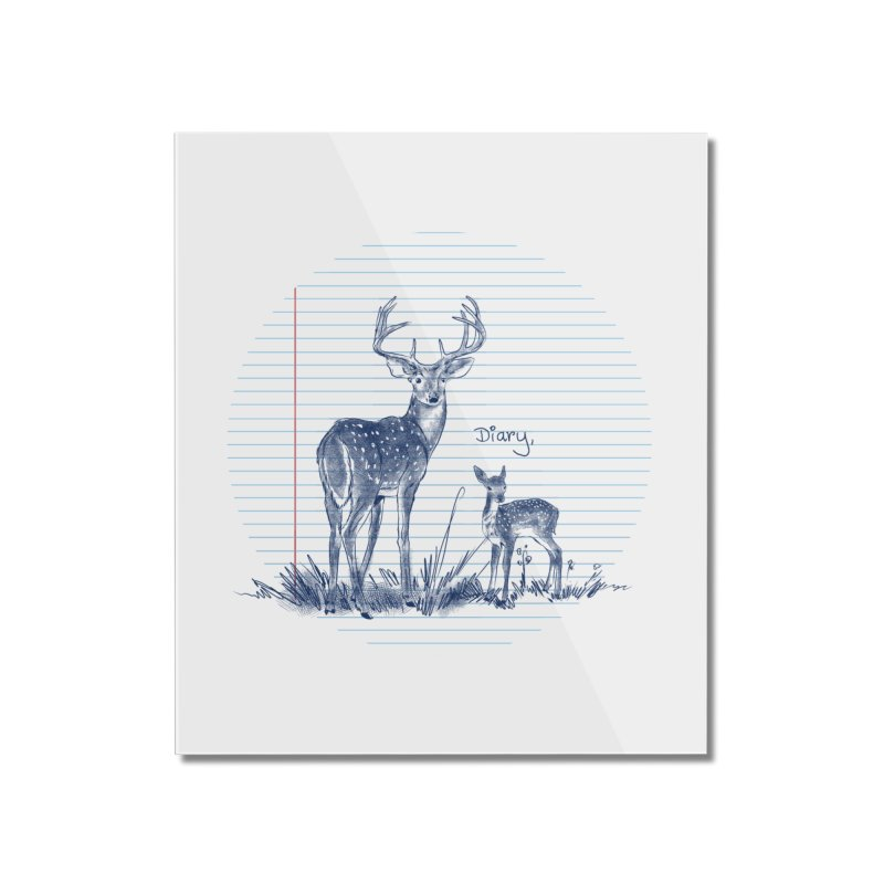 Deer Diary, Home Mounted Acrylic Print by kooky love's Artist Shop