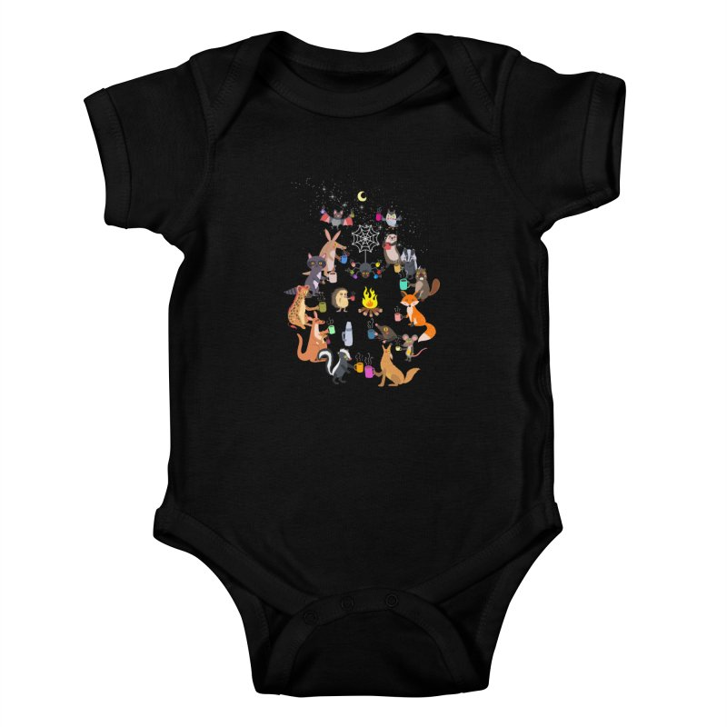Nocturnal Shift Kids Baby Bodysuit by kooky love's Artist Shop